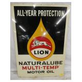 20X28 UNUSUAL LION MOTOR OIL SIGN