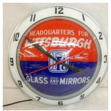 15IN. PITTSBURGH GLASS &  MIRRORS DOUBLE BUBBLE CLOCK