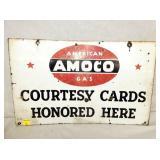 24X15 PORC. AMOCO COURTESY CARDS SIGN