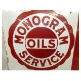 VIEW 2 CLOSEUP PORC. MONOGRAM OIL SIGN