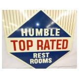 VIEW 2 CLOSEUP HUMBLE REST ROOMS SIGN