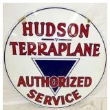 RARE 42IN PORC. HUDSON TERAPLANE SERVICE SIGN