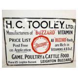 36X24 PORC. H.C TOOLEY BUZZARD FEED SIGN