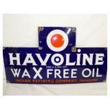 30X16 PORC. HAVOLINE WAX FREE OIL SIGN