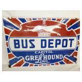 30X20 PORC. BUS DEPOT GREYHOUND SIGN
