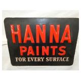 11 1/2X15 1/2 EMB. LIGHTED HANNA PAINTS STORE SIGN