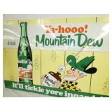 VIEW 2 CLOSEUP MOUNTAIN DEW 38X58 HILL BILLY WILLIE SIGN