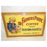 60X38 FRAMED FARMERS PRIDE COFFEE PAPER ADV.