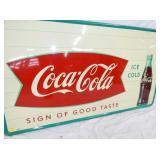 VIEW 2 CLOSEUP 56X32 COKE FISHTAIL SIGN