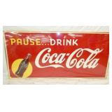 65X30 FRAMED PAUSE DRINK COCA COLA SIGN