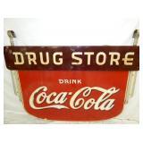 63X42 PORC. COCA COLA DRUG STORE SIGN W/ BRACKETS