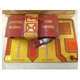 VIEW 3 CLOSEUP MARX FIRE HOUSE TIN STATION W/ TRUCK/BOX