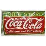 96x55 PORC. Coca Cola DRUG STORE SIGN