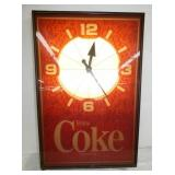 30X33 LIGHTED COKE ANIMATED CLOCK
