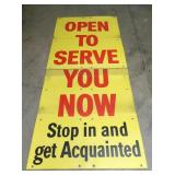 OPEN TO SERVE ACQUAINTED SIGN