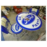 FORD DEALER TABLE & STOOLS