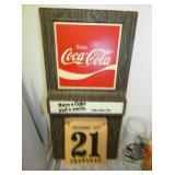 1975 Coca Cola CALENDAR SIGN