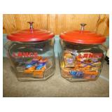 2 SQUATTED LANCE JARS