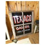 24X29 TEXACO GAS-OIL PAINTED WINDOW