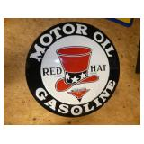 23IN. RED HAT MOTOR OIL SIGN