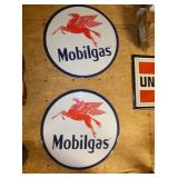 (2) 23IN. MOBILGAS SIGNS
