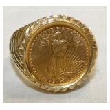 14K GOLD RING W/$5 ST. GAUDENS COIN