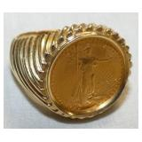 VIEW 2 $5 GOLD COIN RING