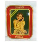 1930 COKE TRAY W/ LADY ON PHONE