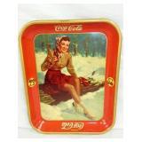 1941 COKE TRAY LADY IN SNOW