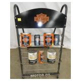 HARLEY DAVIDSON OIL RACK AND CANS