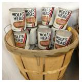 WOLF HEAD OIL CANS