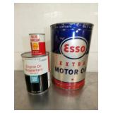 SHELL, ESSO MOTOR OIL CANS