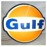 28X26 EMB. GULF LIGHTED CAN SIGN