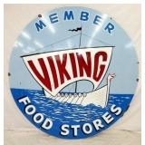 6FT. PORC. VIKING FOOD STORE SIGN