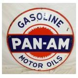42IN PORC. PAN-AM MOTOR OIL SIGN