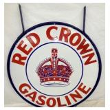 42IN PORC. RED CROWN GASOLINE SIGN