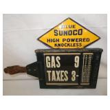 16X12 RARE BLUE SUNOCO PUMP PRICE SIGN