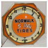 18IN NORWALK TIRES NEON CLOCK