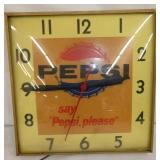 13IN PEPSI LIGHTED CLOCK