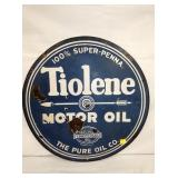 24IN PORC. TIOLENE MOTOR OIL SIGN