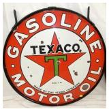42IN PORC. TEXACO MOTOR OIL W/ FRAME