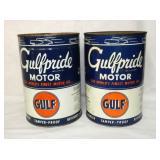 1QT. GULFPRIDE MOTOR OIL CANS