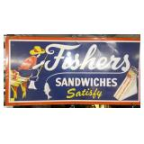 48X24 1965 FISHERS SANDWICHES SIGN
