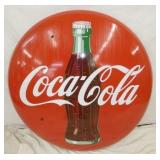 48IN PORC. Coca Cola BUTTON W/ BOTTLE