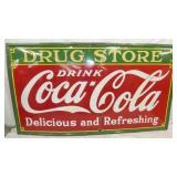 96X54 1934 PORC. DRUG STORE COKE SIGN