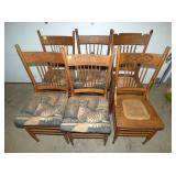 6 MATCHING OAK PRESSED BACK CHAIRS
