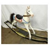 36IN WOODEN PRIM. ROCKING HORSE