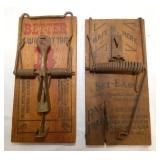 EARLY WOODEN MOUSE TRAPS