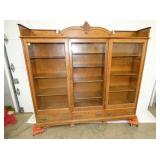73X68 OAK 3 DOOR BOOKCASE