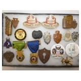 POLITICAL BUTTONS, MILITARY BADGES, ETC